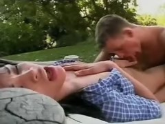 Bewitching shemale enjoys dominating guy in tropic park
