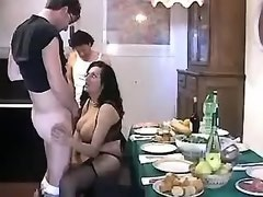 Funny party turns to a wild orgy with busty shemale slut