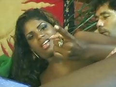Young ebony tranny tempting white dude outdoors