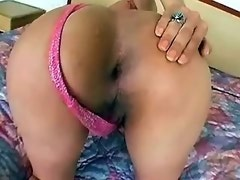 Hot blond tranny in pink lingerie plays with her cock