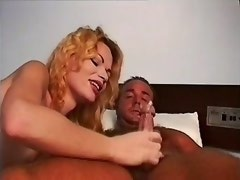 Blonde shemale jumping on cock and getings cumshot