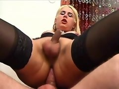 Blonde goddess shemale fucking from behind w man