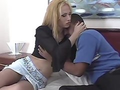 Gorgeous blonde shemale tempts dude