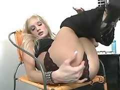Blond transsexual beauty tempts guy