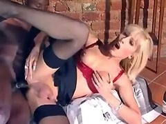 Blond tranny in red lingerie enjoys dick in her ass
