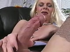 Secretary shemale in stockings crazy masturbates