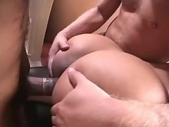 Guys share blonde shemale in office after work
