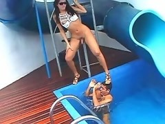 Naughty trans have oral fun in pool