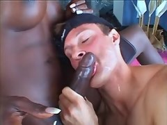 Bloke does perfect blowjob to ebony mature shemale