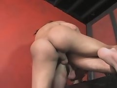 Hot beautiful shemale fucks slave guy in red room