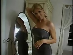 Gorgeous blond shemale gets blowjob from able dude