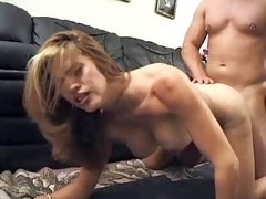 Man with pierced cock fucking amazing blond shemale