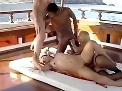 Interracial couple fucks with blond shemale couple