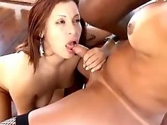 Two shemales fuck with girl and black man on deck
