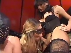 Beautiful tall shemale dominates slave girl n chap
