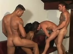 Latin tranny cums on ass and gets cumload in group