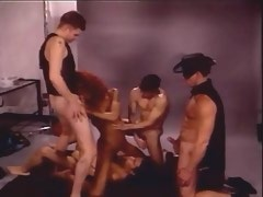 Clever redhead shemale blows n fucks with four men