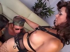 Beautiful dominating tranny jizzes on dude in orgy