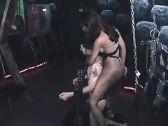 Beautiful black shemale sucked by slave bound chap