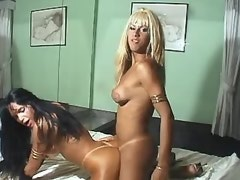 Blonde tranny crazy fucks brunette tranny and jizz