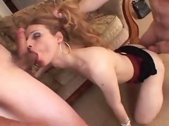 A skinny cute shemale deep sucking two hungry cocks