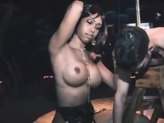 Black fetish shemale jizzes on diffident slave guy