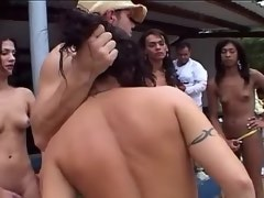 Lusty gal gets cum in stormy trannies orgy outdoor