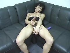 Asian shemale cums after didlofuck